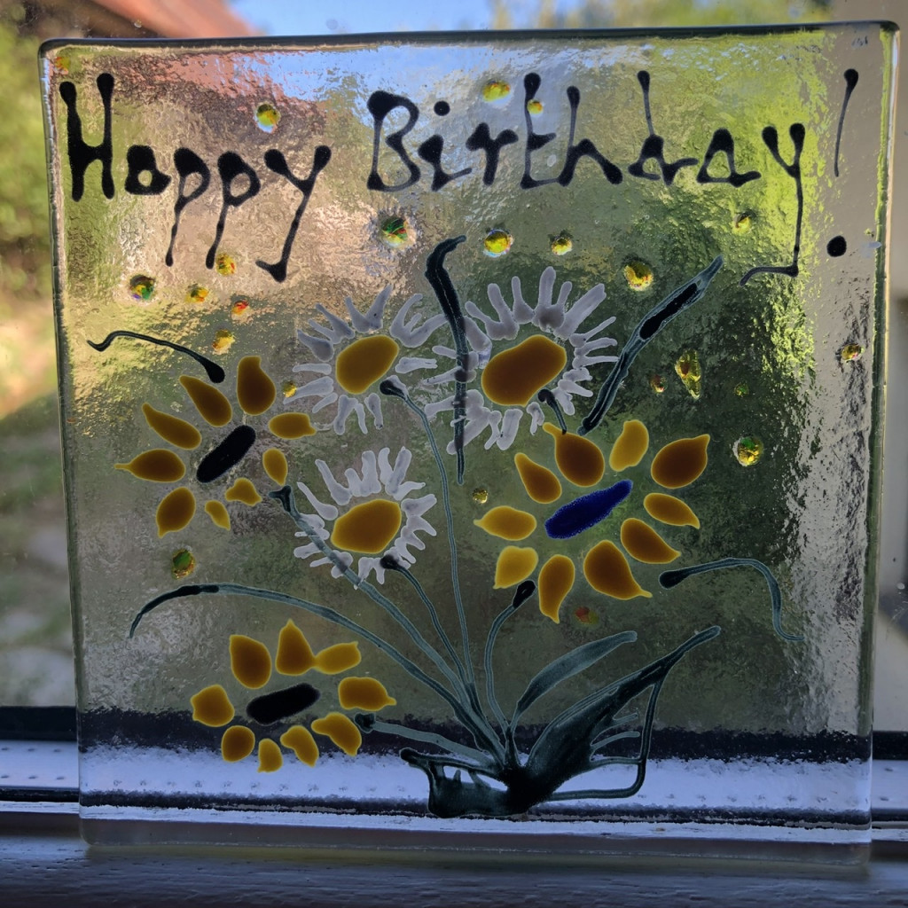 fused glass birthday card